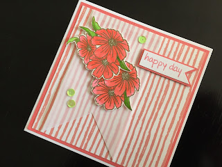 Hand made birthday card with stamped, fussy cut Cosmos flowers and vellum