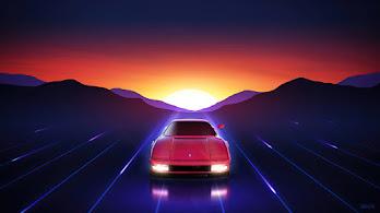 Ferrari, Sports Car, Sunrise, Digital Art, 4K, #4.3066