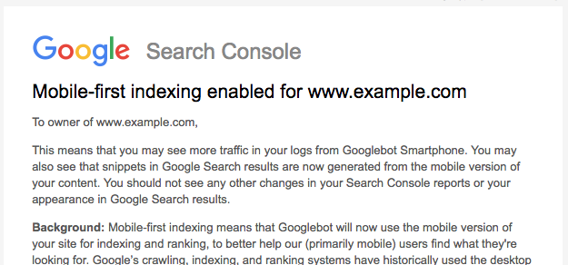 google mobile indexing message