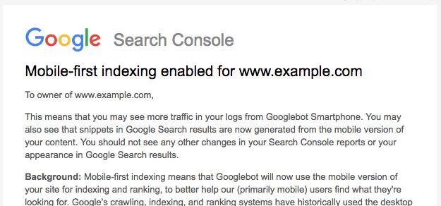message d'indexation mobile de google