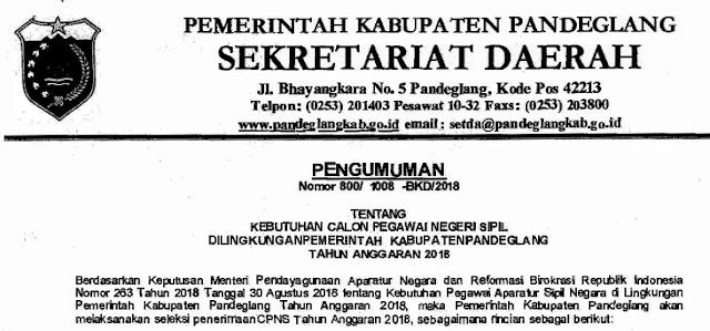 Pengumuman CPNS Kabupaten Pandeglang Provinsi Banten Tahun  PENGUMUMAN FORMASI, PERSYARATAN DAN TATA CARA PENDAFTARAN CPNS KABUPATEN PANDEGLANG TAHUN 2018