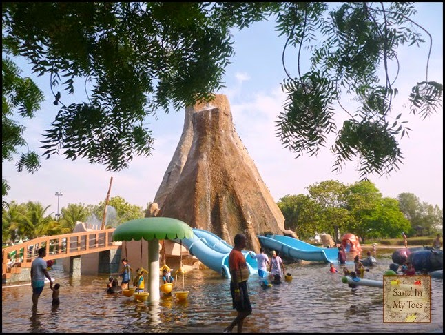 Having fun in a water park