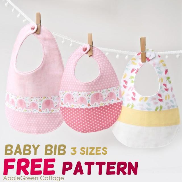 Free sewing pattern: Baby bib in 3 sizes