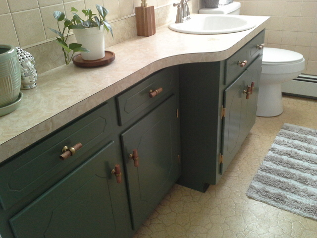 Vintage Bathroom Makeover green cabinets