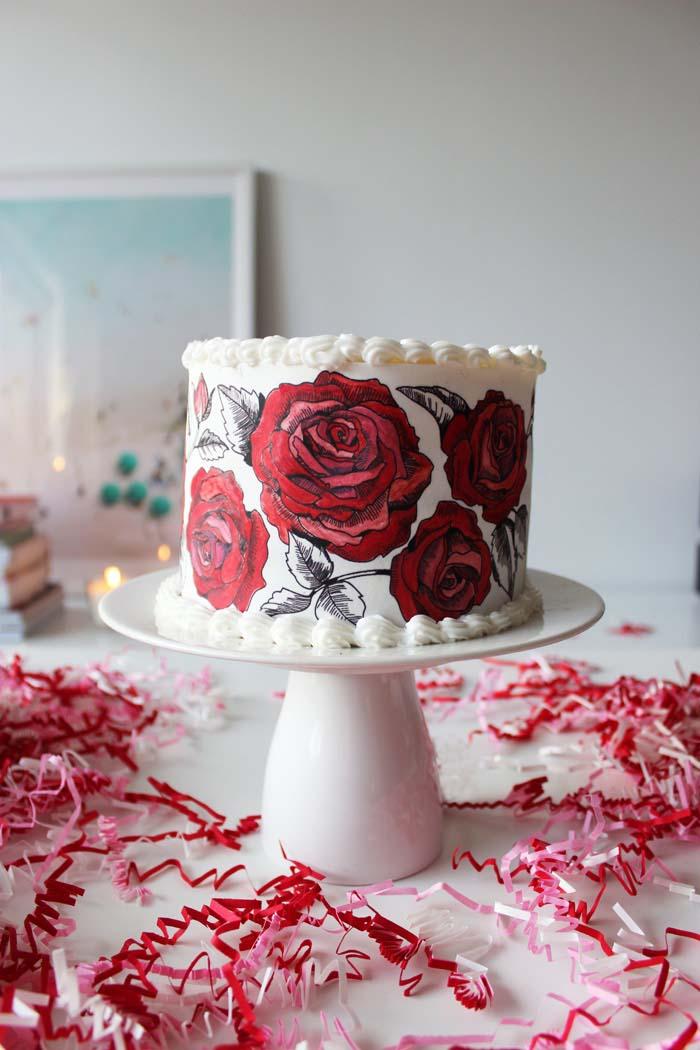 Diy Rose Painted Valentine Cake Poppytalk