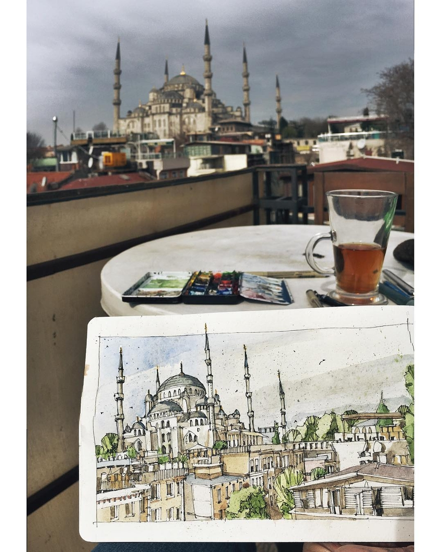 10-Reminiscing-over-Black-Tea-Josiah-Hanchett-Urban-Sketcher-taking-in-the-views-and-Drawing-them-www-designstack-co