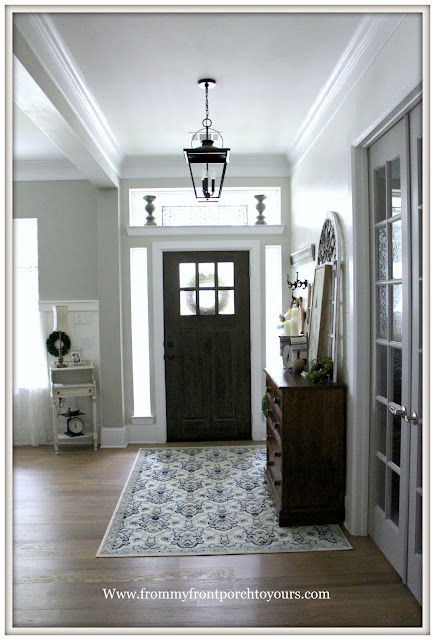French Country Farmhouse Foyer-DIY-Shiplap-Makeover-Foyer Rug-Carriage House Foyer Light-DIY-Shiplap-Cottage Style-From My Front Porch To Yours