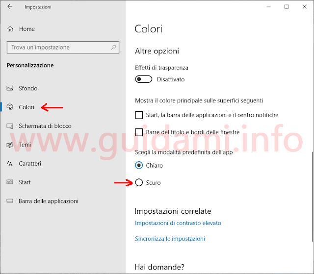 Windows 10 Impostazioni Colori Tema Scuro Esplora file