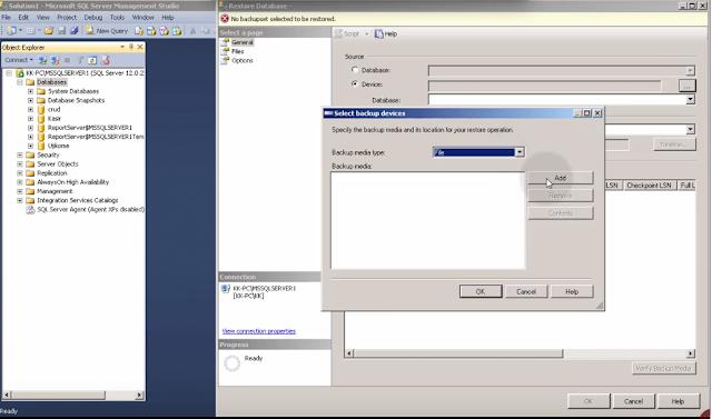 Pilih Device pada saat restore database