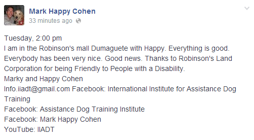 Update: Dumaguete Robinsons Now Allowed Mark Cohen and His Dog Happy to Enter the Mall