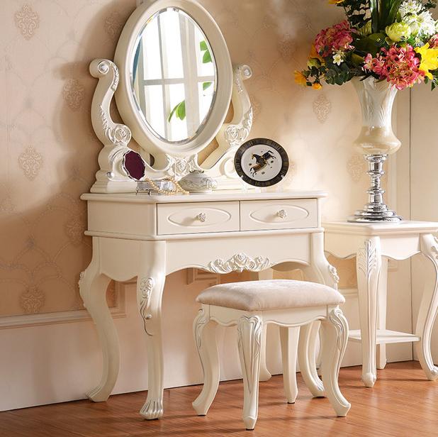 model meja rias kayu jati kecil minimalis