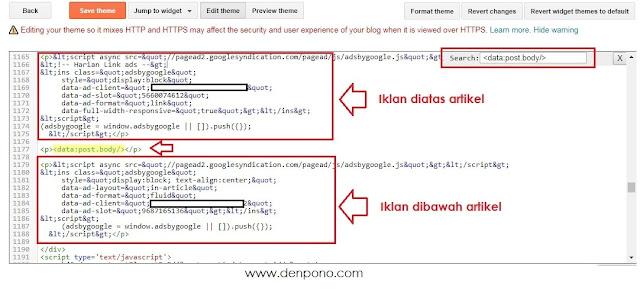 Cara Memasang Kode Iklan Adsense di Dalam Artikel Blog