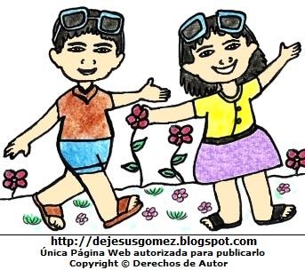 Dibujo de la estación de primavera a color  (Niños felices con flores en primavera). Dibujo de la estación de primavera hecho por Jesus Gómez