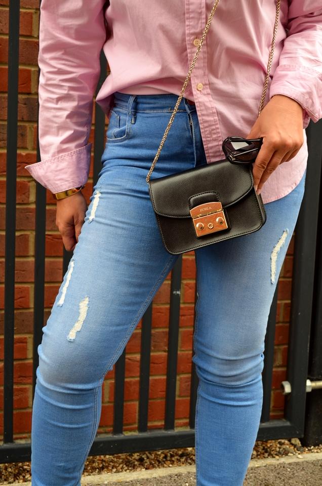 Adriana Style Blog, blog modowy Puławy, Casual Outfit, Fashion, Furla Bag, Ideal Duet, Jeans, Jeansy, Koszula Ralph Lauren, moda, Sandałki, Shirt, Torebka Furla