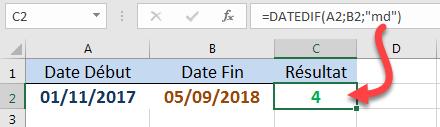 Calculer le nombre de jours en ignorant les années et les mois DATEDIF