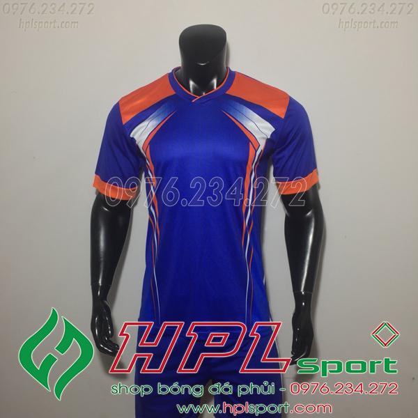 Áo bóng đá ko logo LM Xanh