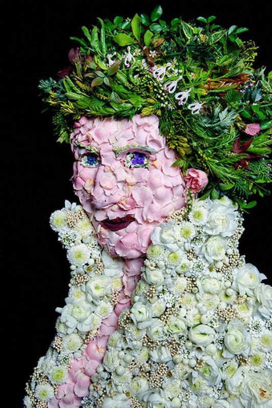 Портреты из фруктов и цветов 6