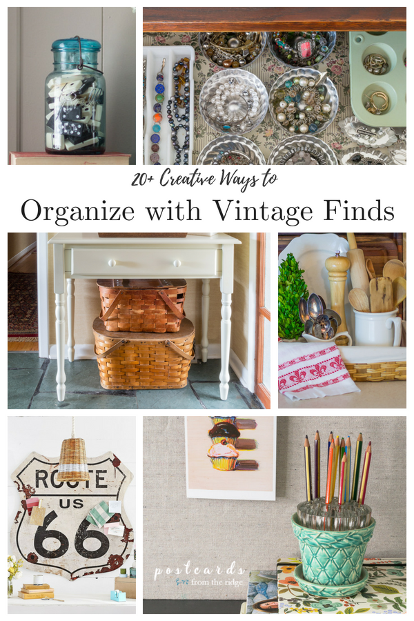 vintage items used for organization