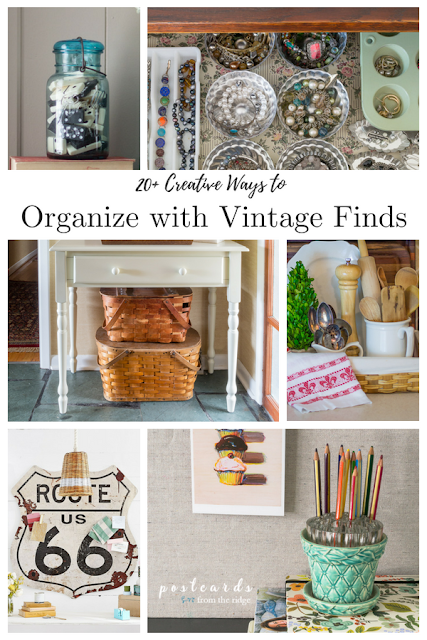 various vintage home decor items used for organizing
