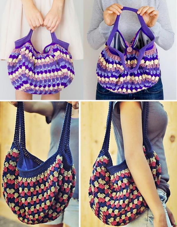 Crochet Bags, easy, granny square