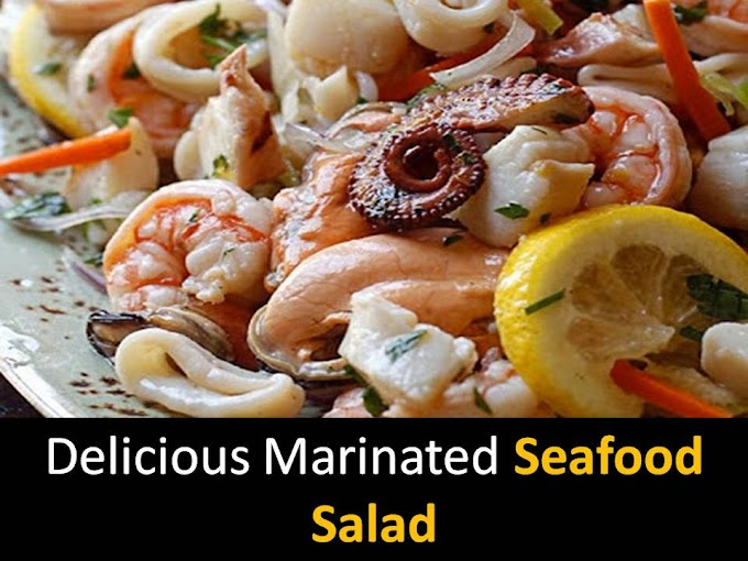 Delicious marinated seafood salad