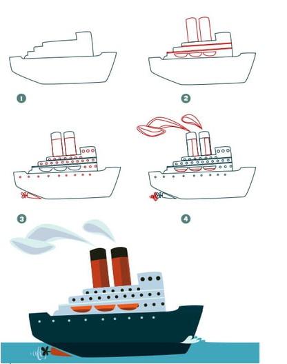 رسم سفينه ملونه
