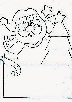 desenho de Papai Noel para pintura country em tecido