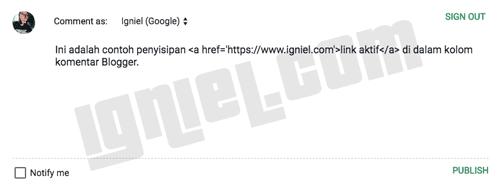 Cara Menyembunyikan Link Aktif Pada Komentar Blog