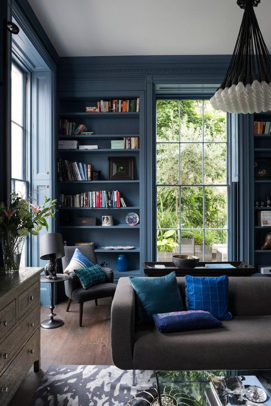 colored bookcases