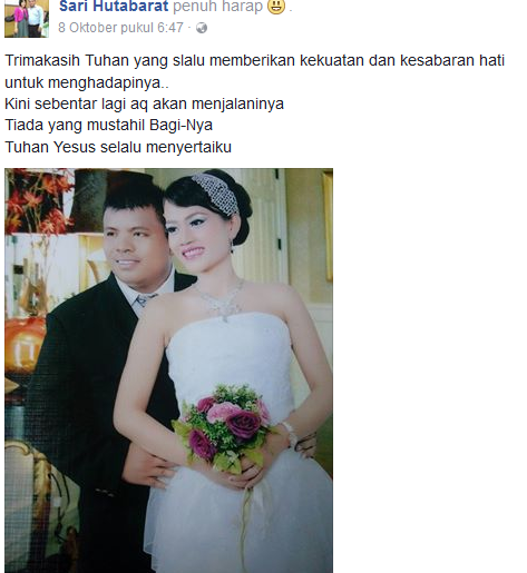 Status terahir korban kecelakaan Meneteskan air mata, Sebentar lagi saya akan menikah Tuhan.