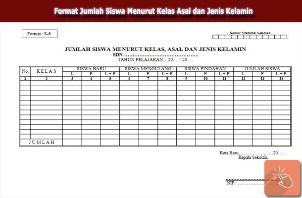 Format Jumlah Siswa Menurut Kelas Asal dan Jenis Kelamin