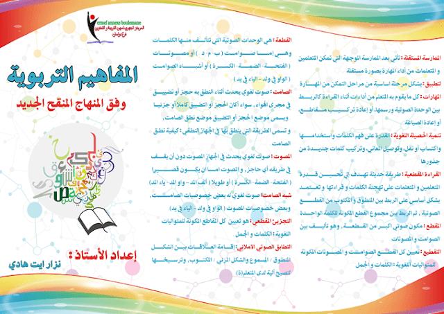 تعريف مفاهيم اللغة العربية وفق المنهاج المنقح