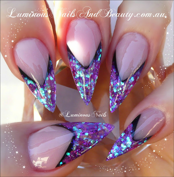 Purple Acrylic Nails Stiletto