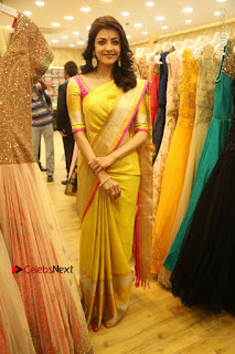 Actress Kajal Agarwal Stills in Golden Silk Saree at Trisha Sesigner Store Launch  0101.jpg