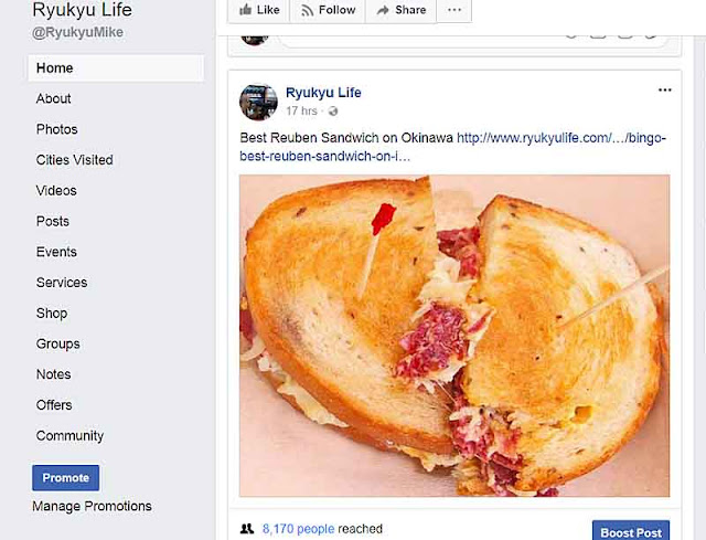 Facebook screenshot of Reuben Sandwich post