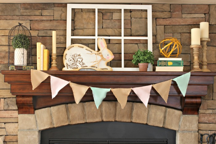 Spring mantel decor ideas - www.goldenboysandme.com