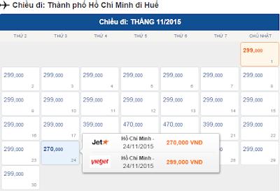 Bảng giá vé máy bay đi huế
