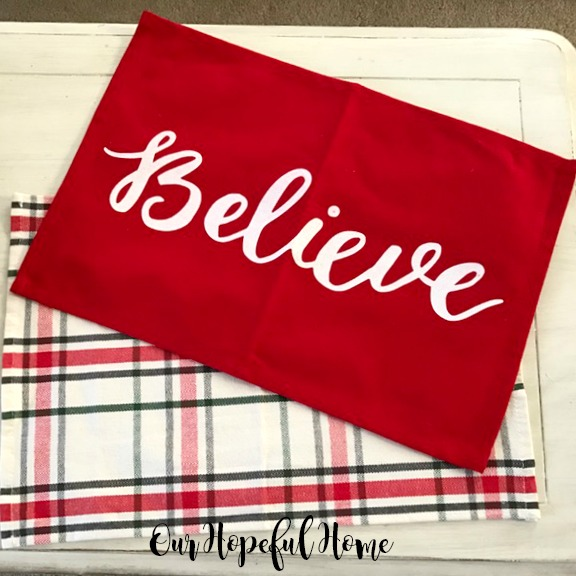 Our hopeful home 5 diy christmas pillows made from target placemats believe pillow target placemat solutioingenieria Choice Image