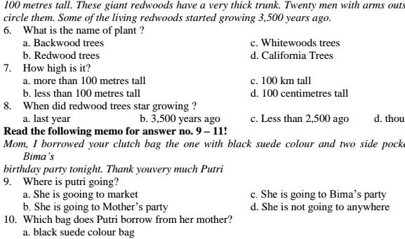 Soal UAS Bahasa Inggris SMP Kelas 8 Semester 1