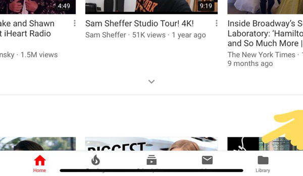 YouTube UI elements on iPad Pro