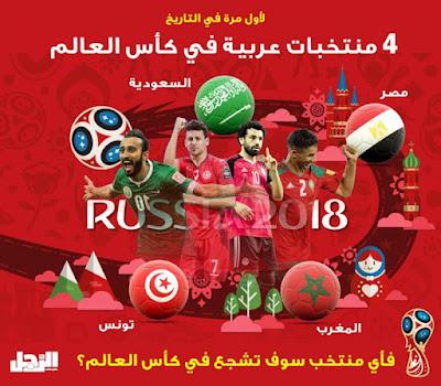 خلفيات المنتخبات العربية المشاركة في روسيا