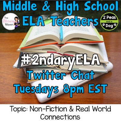 Join secondary English Language Arts teachers Tuesday evenings at 8 pm EST on Twitter. This week's chat will be about teaching nonfiction and making real world connections.