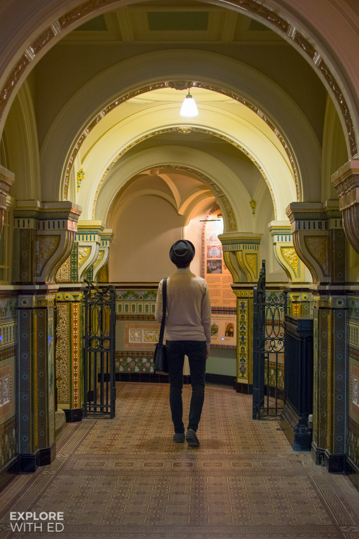 Tiled corridor inside Cardiff Story Museum