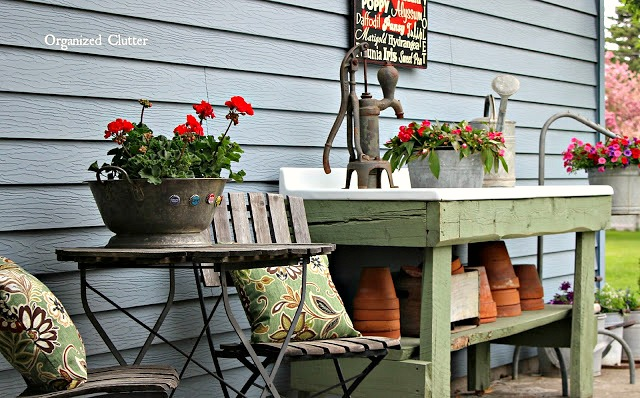 Rustic Potting Sink/Bench & Rustic Seating organizedclutter.net