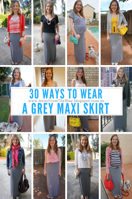 30 ways to wear a grey jersey maxi skirt | away from the blue blog #30wears