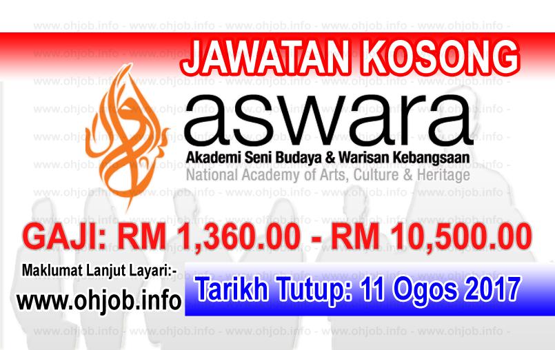 Jawatan Kerja Kosong Akademi Seni Budaya Dan Warisan Kebangsaan - ASWARA logo www.ohjob.info ogos 2017