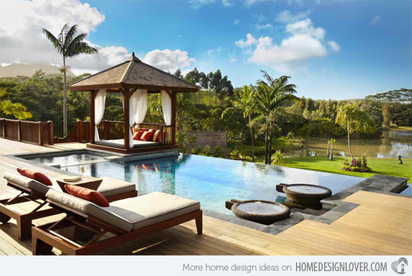 The coolness of the water in the pool gives a relaxing effect on a tired mind and body. If the pool is well designed and has a beautiful landscape you may not want to go out of the water.  Here are 50 photos of breathtaking pools with amazing landscape. Photos are taken from homedesignlover.com