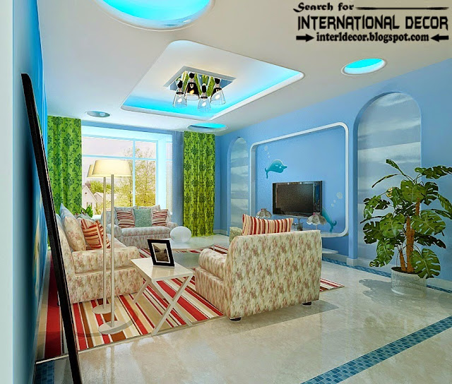 modern pop false ceiling designs of plasterboard 2015 with lighting for living room