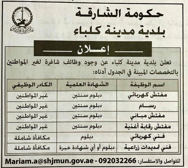 وظائف حكومية بدولة الامارات خلال شهر اغسطس 2017