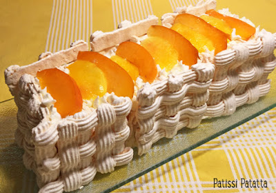 millefeuille meringué, gâteau, pavlova, meringues, abricots, nectarines, dessert d'été, pavlova design, patissi-patatta